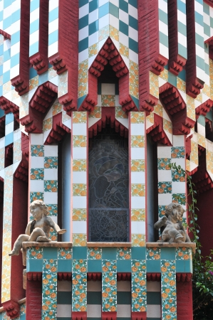Window detail from Casa Vicens at Barcelona (Spain). It was Gaudis first important work which is added to the UNESCO World Heritage Site. Stock Photo