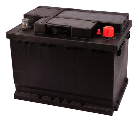 New 12V rechargeable car battery isolated on white (electrical charge: 56Ah). Stock Photo