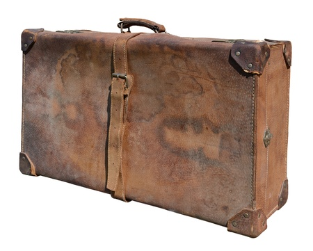 Very old leather suitcase, isolated on white. photo