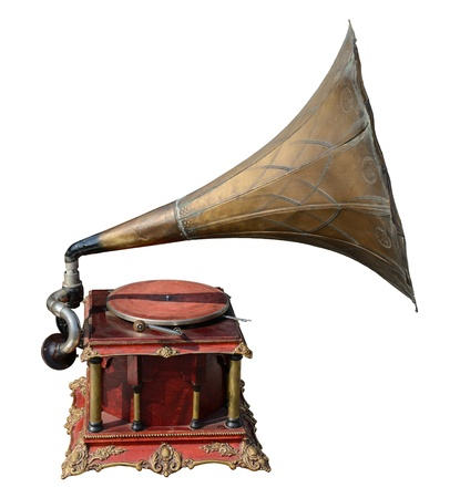 Antique gramophone, isolated on white.