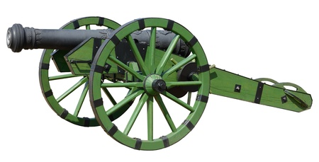 gunnery: Old cannon over green wheel, isolated on white.