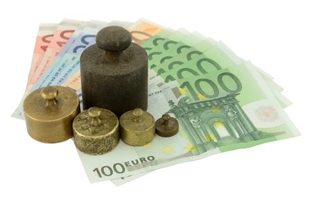 Different weights on the Euro for save money, isolated on white.