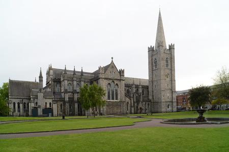 Saint Patrick's Cathedral from park, Dublin  Ireland   Stock Photo