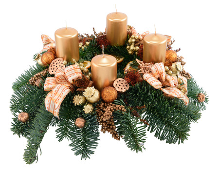 Advent wreath with four candles isolated on white