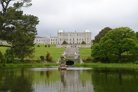 eire: Powerscourt house from beautiful garden in County Wicklow, Ireland