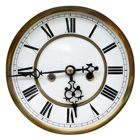 Antique clock face showing the time  sixteen to six , isolated on white