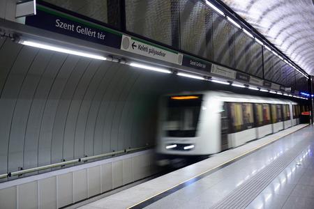 Moving underground train at St.Gellert square. Budapest, Hungary