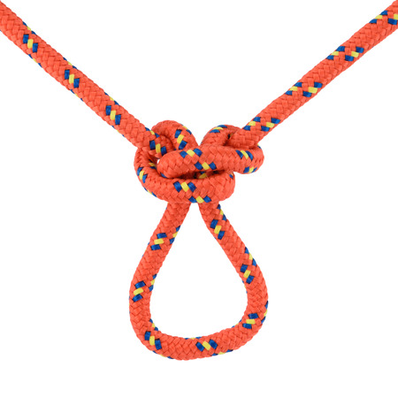 nonslip: Red butterfly knot in the middle of a rope, isolated on white. Useful for making non-slip loops in the middle of a rope to attach carabiners. Stock Photo