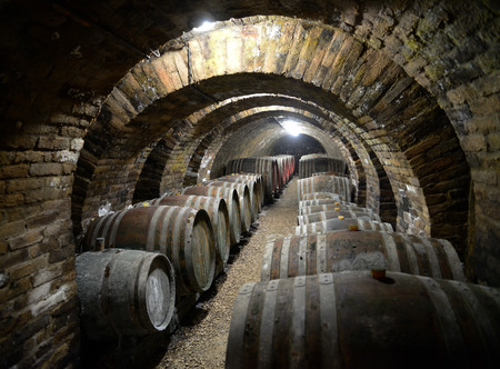 Ancient wine cellar with wooden wine barrels. Stock Photo