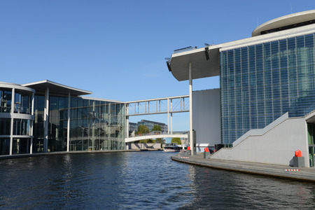spree: The modern government buildings that cross the River Spree in Berlin.Marie-Elisabeth Lders  and Paul Lbe Building
