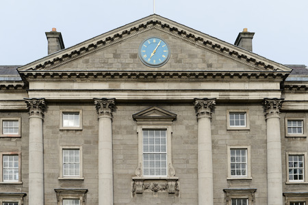 Trinity College - detail of the top of the main entrance -Dublin, Ireland.