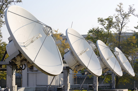 the antennae: Four high power satellite antennae facing the sky.