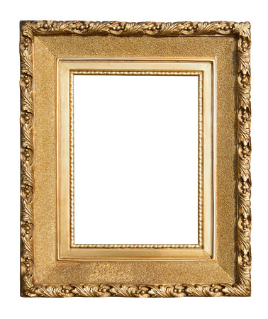 gold picture frame: Antique wooden gold frame isolated on white.