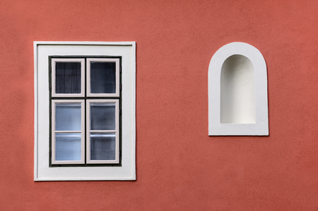 niche: Closed window with wall niche (Budapest, Hungary) Stock Photo