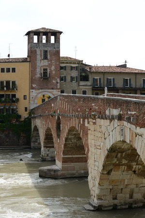 pons: The Ponte Pietra known as the Pons Marmoreus, is a Roman arch bridge crossing the Adige River in Verona, Italy. Editorial