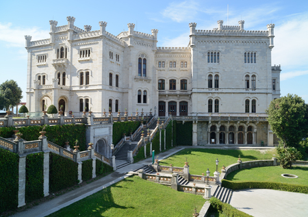 trieste: Miramare Castle with park in Trieste (Italy). Editorial