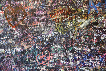 juliets: Part from the Wall full of messages from lovers in Juliets House, Verona, Italy. Stock Photo