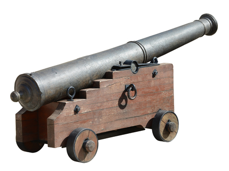 gunnery: Ancient medieval cannon on wheels, isolated on white.