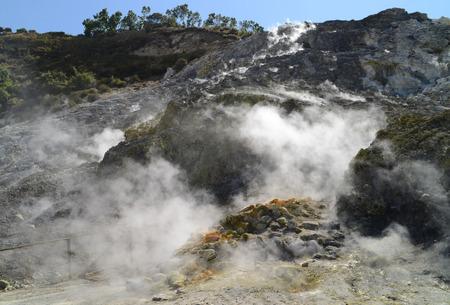 Fumarole inside active vulcano Solfatara di Pozzuoli near Napoli (Italy)