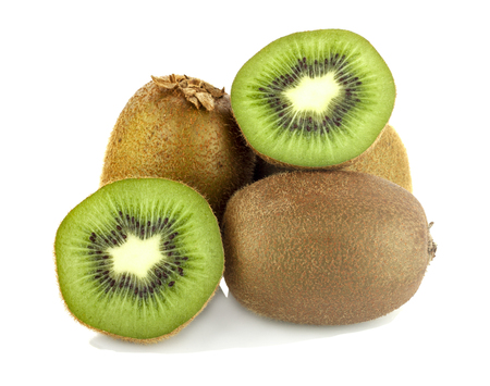 cantle: Whole kiwi fruit and his sliced segments on white background