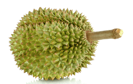 Close up green durian isolated on white background. Stok Fotoğraf