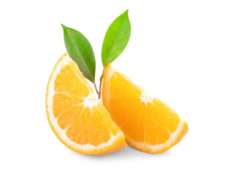 Orange fruit. Orang slice isolate on white. With clipping path. Stock Photo