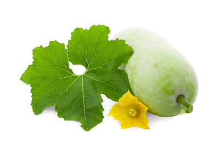 Winter melon fruit with leaf and flower isolated on white background Stockfoto