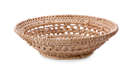 Basket wicker on isolated white background. Stock Photo