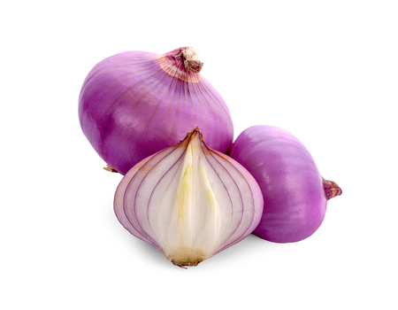 Slices of shallot onions for cooking on white background. Stock Photo