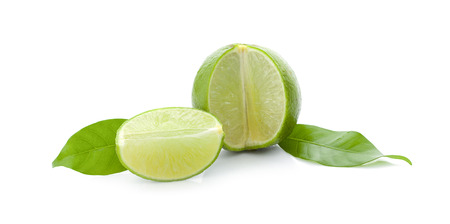 Fresh lime slice isolated on white background Imagens