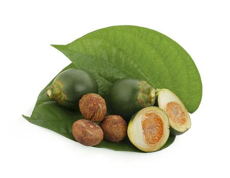 fresh betel nut on betel leaf isolated on white background