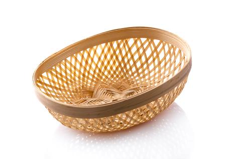 Basket wicker on isolated white background Stock Photo