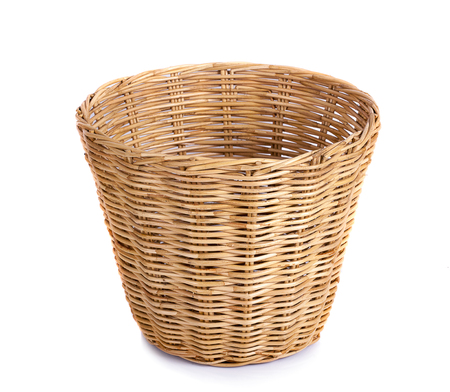 Basket wicker on isolated white background. 版權商用圖片