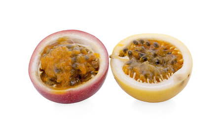 Half cut passion fruit isolated on white background, sour fruit, fruit background, healthy food