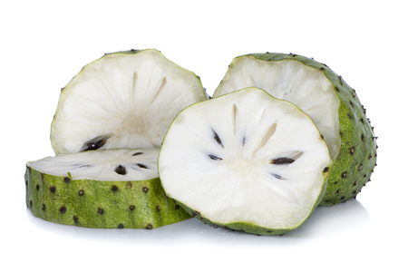 Soursop fruits isolated on white background Imagens