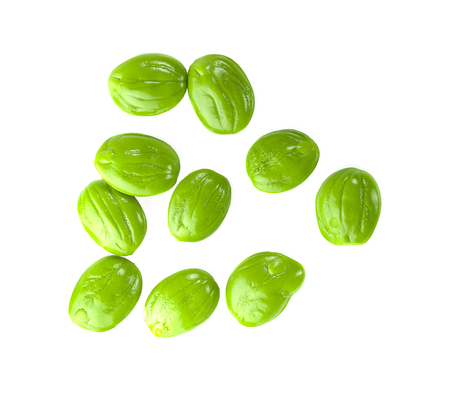 Parkia speciosa seeds or bitter bean on white background 写真素材