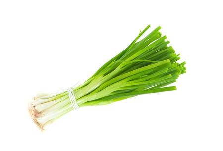 oignon vert isolé sur fond blanc Banque d'images
