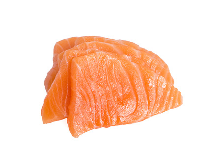 Slices of Raw Salmon Fillet Isolated on White Background Top View