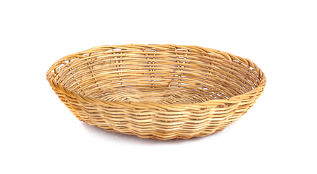 Basket wicker on isolated white background