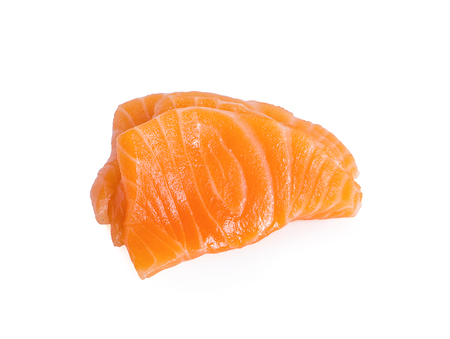 Slices of Raw Salmon Fillet Isolated on White Background Top View Standard-Bild - 123394083