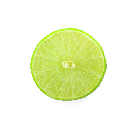 whole and half with slice of fresh green lime isolated on white background 写真素材 - 125710490