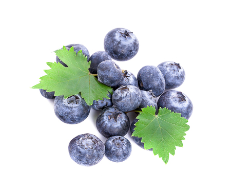 fresh blueberries isolated on white 写真素材