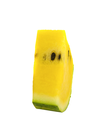yellow watermelon isolated on white background 写真素材