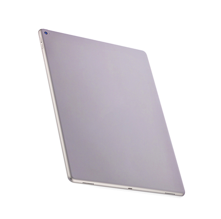 Phetchaburi, Thailand - Feb 21th, 2019: The back of the Apple iPad Pro 12.9 Color space gray on a white background 報道画像