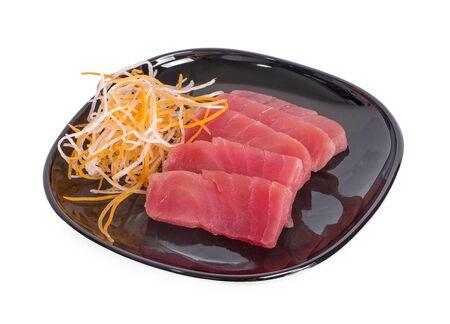 Slice of tuna isolated on white background