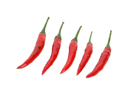 Red chilli peppers on white background  写真素材