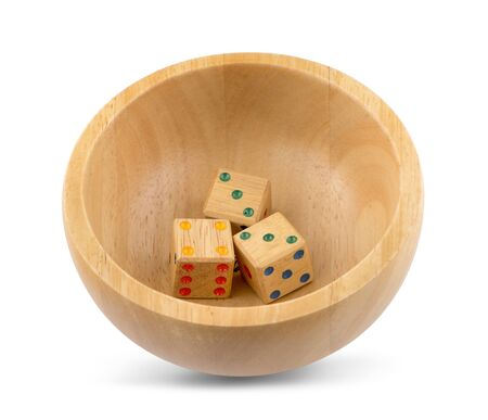 Wooden dice isolated on white background 스톡 콘텐츠