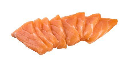 Salmon meat sashimi isolated on white background