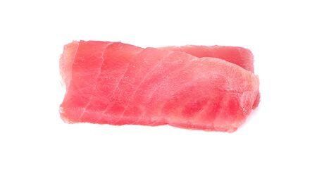 tuna fish meat on white background
