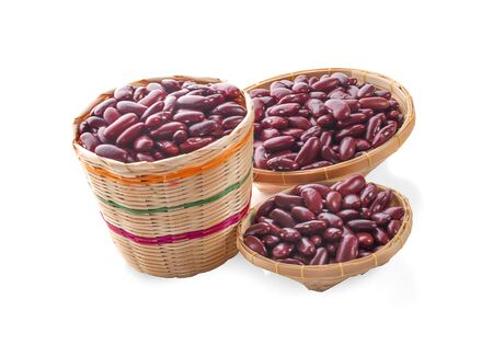red beans in a wooden bowl isolated on white background.